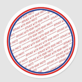 Red White & Blue Photo Frame Template Classic Round Sticker