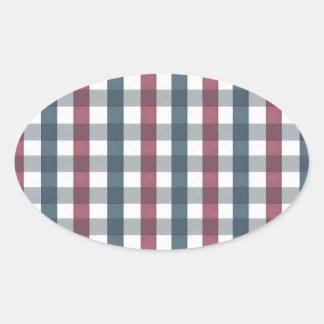 Red, White & Blue Picnic Pattern Oval Sticker