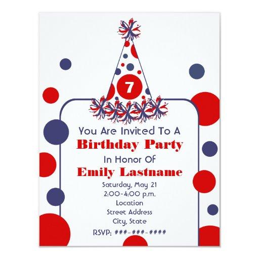 "Red White & Blue Polka Dot Birthday Party Hat 4.25"" X 5.5"" Invitation Card"
