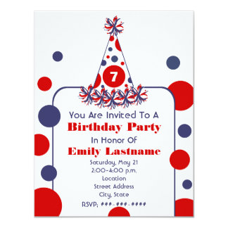 "Red White & Blue Polka Dot Birthday Party Hat 4.25"" X 5.5"" Invitation Card"