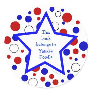 Red White Blue Polka Dot Bookplate StickerTemplate sticker