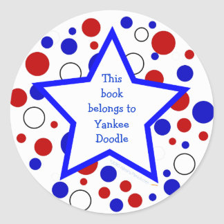 Red White Blue Polka Dot Bookplate StickerTemplate