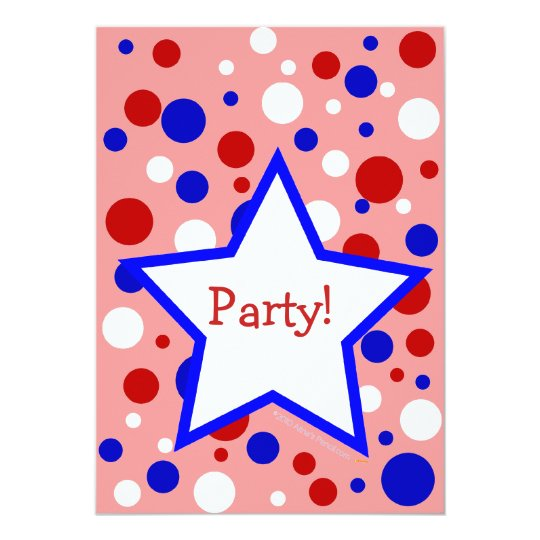 Red White Blue Polka Dot Party InvitationsTemplate Card