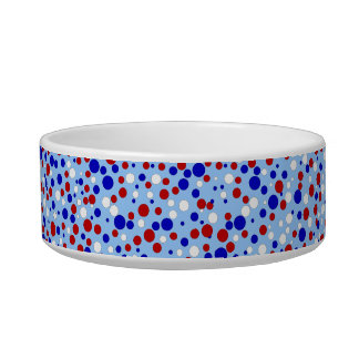 Red White Blue Polka Dots Blue Pet Food Bowl Cat Bowls