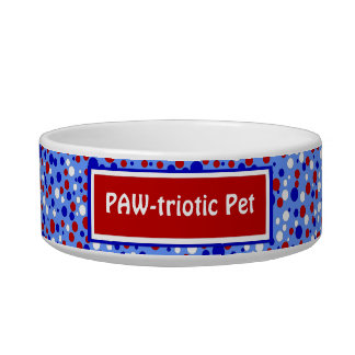 Red White Blue Polka Dots Funny Patriotic Pet Bowl Cat Water Bowls
