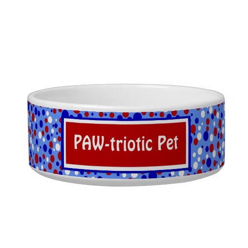 Red White Blue Polka Dots Funny Patriotic Pet Bowl