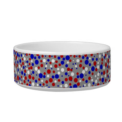 Red White Blue Polka Dots Grey Pet Food Bowl
