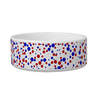 Red White Blue Polka Dots Patriotic Pet Food Bowl Cat Food Bowl