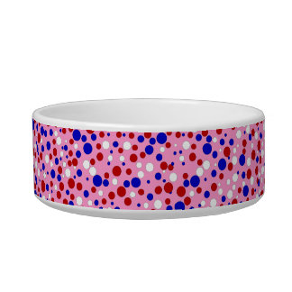 Red White Blue Polka Dots Pink Pet Food Bowl Cat Water Bowls
