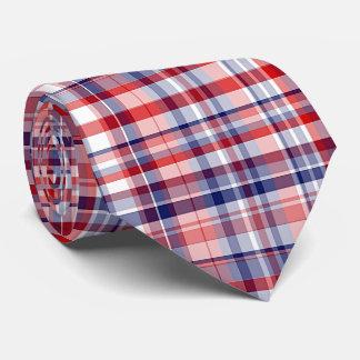 Red, White, Blue Preppy Madras Plaid Neck Tie