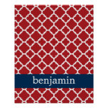 Red White Blue Quatrefoil Pattern Baby Boy Poster