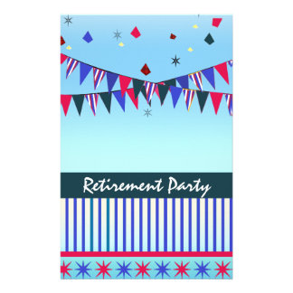 Red White Blue Retirement Party Stationery