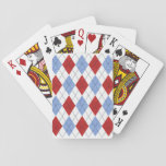 Red.White/Blue Retro Argyle Playing Cards