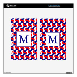 RED WHITE & BLUE RETRO PRINT with MONOGRAM Kindle Fire Skins