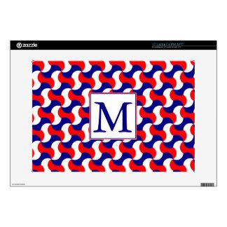RED WHITE & BLUE RETRO PRINT with MONOGRAM Laptop Skin