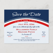 Red White Blue Reunion, Party, Save the Date Announcement Postcard