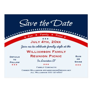 reunions Red White Blue Reunion, Party, Save the Date Postcard