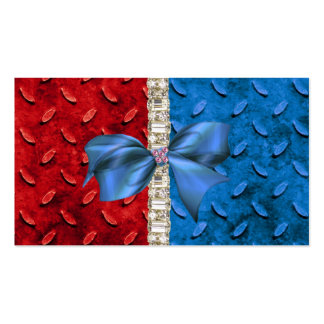 Red White & Blue Rhinestone & Bow Business Card