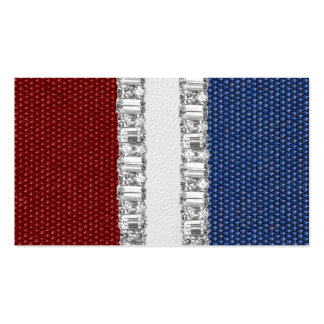 Red White & Blue Rhinestone Business Card