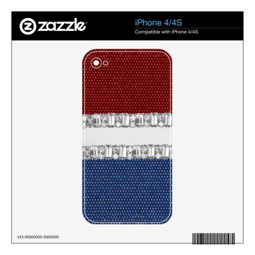 Red White & Blue Rhinestone iPhone4 Skin Decal For iPhone 4S