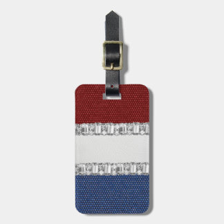Red White & Blue Rhinestone Luggage Tag