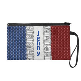 Red White & Blue Rhinestone Name Accessory Bag