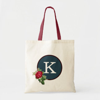 Red White Blue Rose Pattern Elegant Monogram Tote