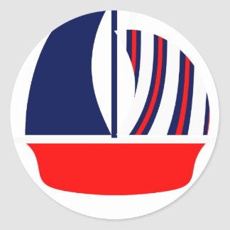 Red White Blue Sail Boat Classic Round Sticker