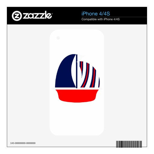 Red White Blue Sail Boat Decals For The iPhone 4S