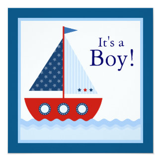 Red White Blue Sailboat Baby Boy Shower Custom Announcement