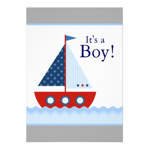 Red White Blue Sailboat Baby Boy Shower Invitation