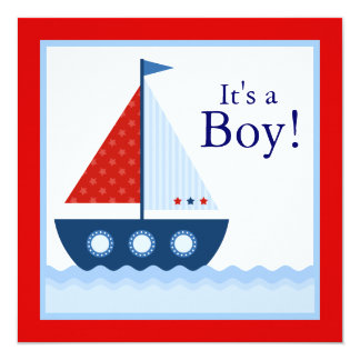 Red White Blue Sailboat Baby Shower Announcements