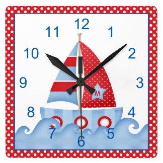 Red White Blue Sailboat Clock