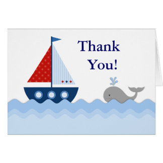 Red White Blue Sailboat Thank You Cards