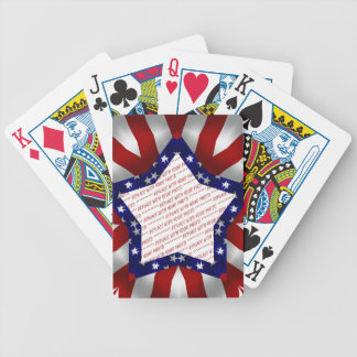 Red White & Blue Satin Star Shape Design Frame Bicycle Playing Cards