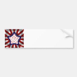 Red White & Blue Satin Star Shape Design Frame Bumper Sticker