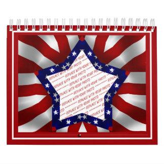 Red White & Blue Satin Star Shape Design Frame Calendar