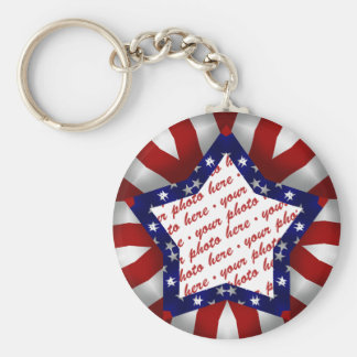 Red White & Blue Satin Star Shape Design Frame Keychain