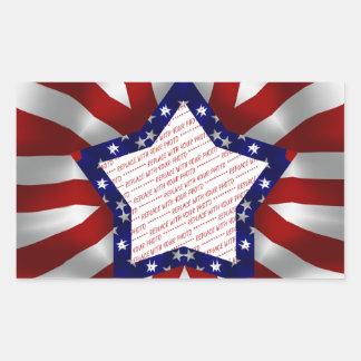 Red White & Blue Satin Star Shape Design Frame Rectangular Sticker
