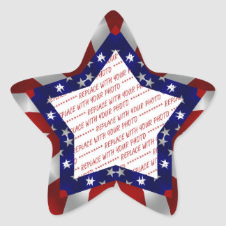 Red White & Blue Satin Star Shape Design Frame Star Sticker