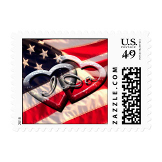 Red White Blue Save The Date Postage Stamps