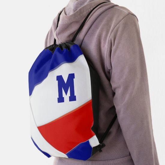 red white blue school colors girl boy volleyball drawstring bag