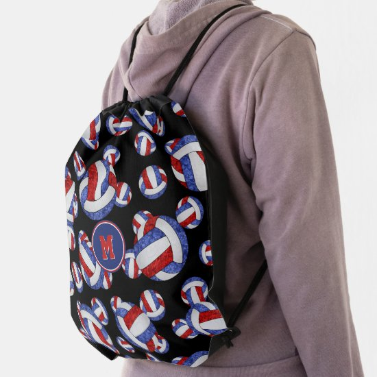 red white blue school colors girly volleyballs drawstring bag