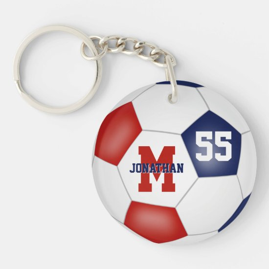 red white blue school colors soccer bag tag keychain