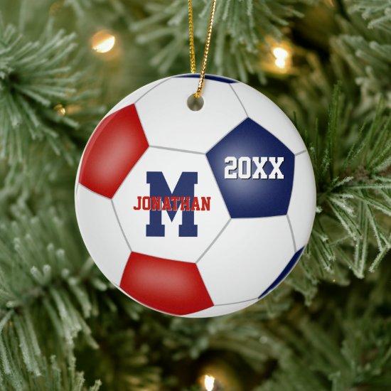 red white blue school spirit boys girls soccer ceramic ornament
