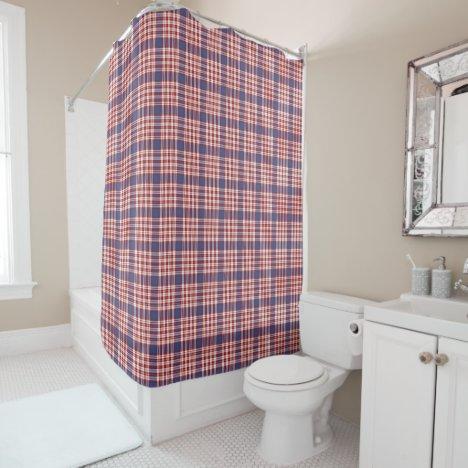 Red White Blue Seamless Plaid Shower Curtain