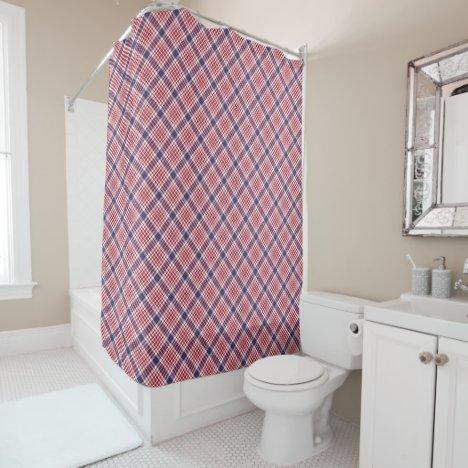 Red White Blue Seamless Tartan Shower Curtain