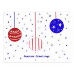 Red, White & Blue Seasons Greetings Post Card