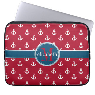 Red White Blue Ship Anchors Monogram Laptop Sleeve