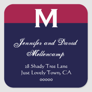 Red, White Blue Simple and Elegant Square Sticker
